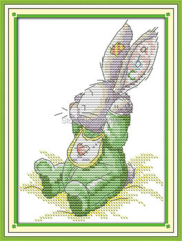 Wholesale Needlework,Stitch,DIY 14CT DMC Cross Stitch,Sets For Embroidery Kits,The Patch Rabbit (1) Counted Cross-Stitching