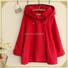 Fashion  Big Red Thick  Woolen Winter Coat Lovely  High Quality Warm Winter Coat Girls Winter Coats