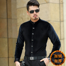 2015 new arrival men's Silk Velour long sleeve Shirt  padded winter men's warm shirts plus-size S-4XL,2 colors free shipping,(China (Mainland))