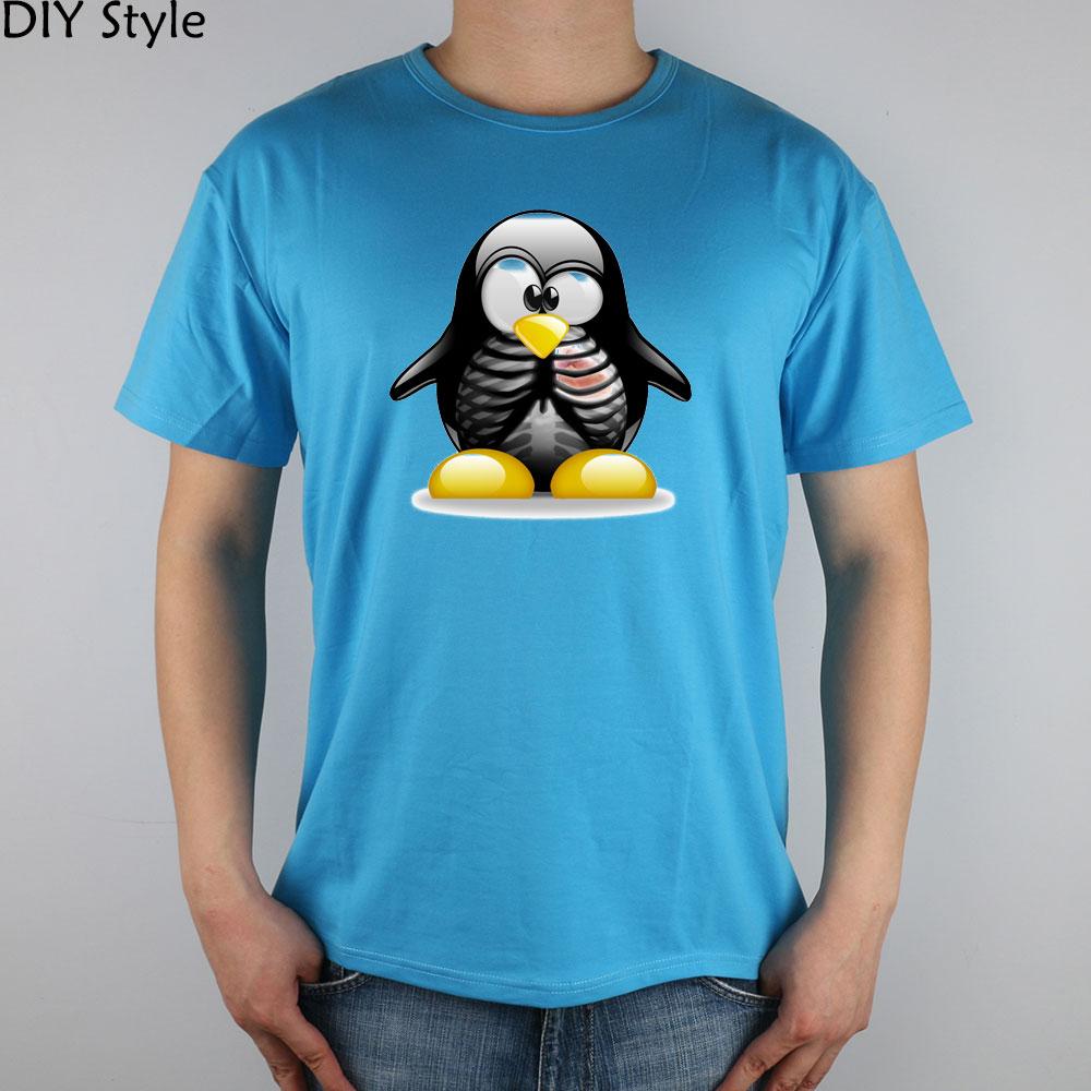 Linux頭蓋骨ペンギン tシャツ トップライクラ綿の男性tシャツ新デザイン(China