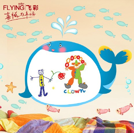 Free shipping! Furnishings whiteboard stickers ocean cartoon wall stickers doodle c319(China (Mainland))