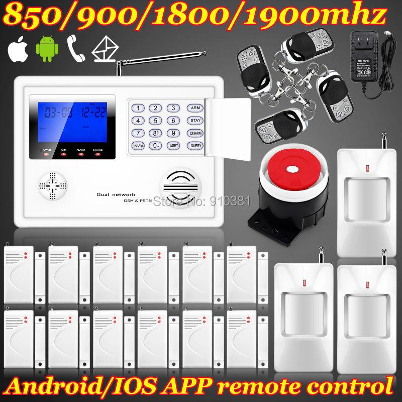 Ios/android app set Wireless GSM PSTN System Home/House/Office Burglar Alarm System Kit + PIR Door Sensor Remote Control Setting(China (Mainland))