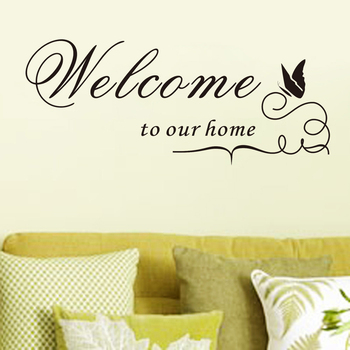 New Quote Removable Vinyl Decal Wall Sticker Welcome to our home Home Decor DIY EMS DHL FeDex Free Shipping Mail