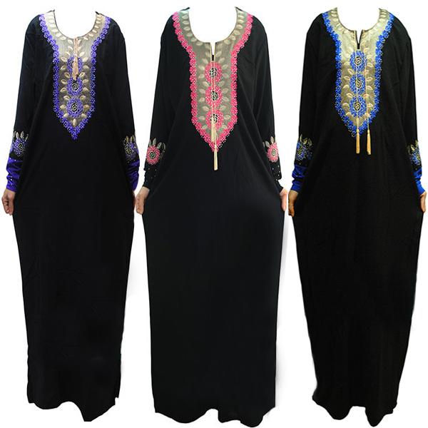 2015 Muslim Abaya Dress Islamic clothing for women high quality embroidery muslim abaya islamic kaftan dubai dress CS3419-1(China (Mainland))