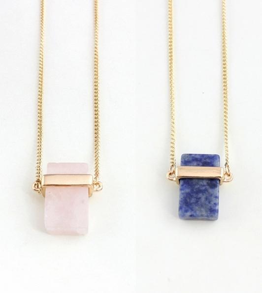 Гаджет  2015 Free shipping New stereoscopic rectangular natural rose quartz necklace inlaid Long necklaces for women   N295 None Ювелирные изделия и часы