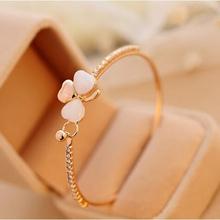 Women Jewelry Accessories Fashion Single Row Full Rhinestone Opal Crystal Bows Love Heart Gold Plated Bracelet Bangles