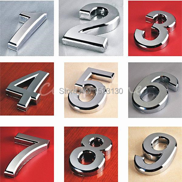 Гаджет  Modern Siver House Door Address Number Digits Numeral Plate Plaque Sign Size 50x30x6mm Convinient Room Gate Number None Аппаратные средства