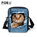FORUDESIGNS Women Messenger Bags Jeans Black Cat Crossbody Bag Designer Bolsos Mujer Ladies Small Shoulder Bags