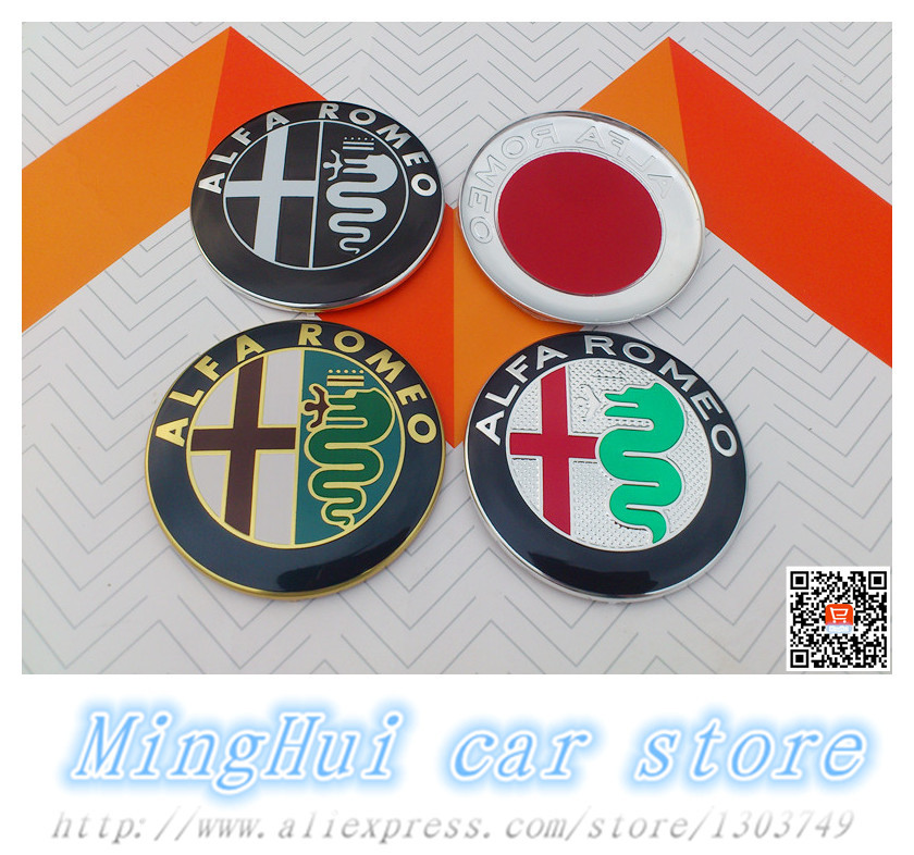 2pcs Free shipping 74mm Black white ALFA ROMEO for Mito 147 156 159 166 Giulietta Spider GT Car Logo emblem Badge sticker(China (Mainland))