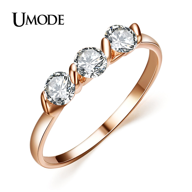 UMODE 18K Rose Gold Plated 0.25ct * 3 Pieces Zirconia Diamond Ladies Jewellery Rings JR0063A