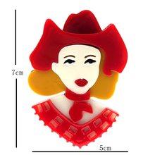 SexeMara Nuovo Disegno Acrilico Ragazza Spilla Per Le Donne di Lusso Del Fumetto Bello Della Ragazza Risvolto Distintivi e Simboli Per La Femmina Regalo di Modo Broche(China)