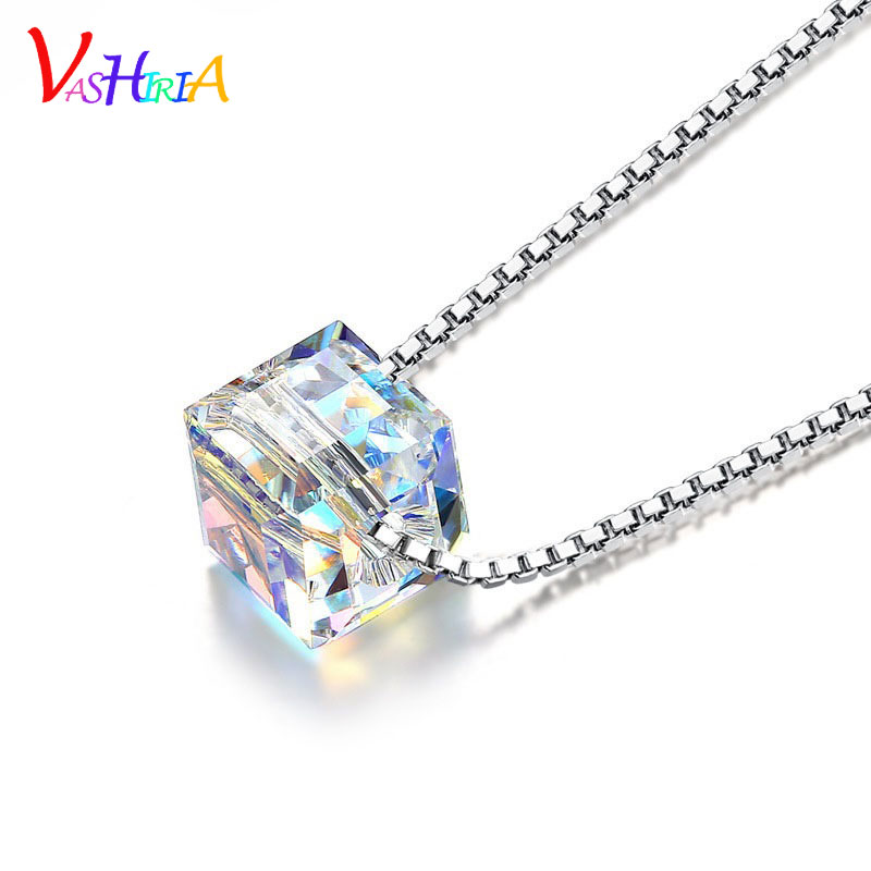 Promotion LOVE cube charm fashion jewelry 925 silver Necklace rainbow crystal pendant square Luxury Necklaces for women(China (Mainland))