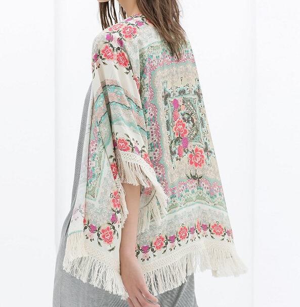 Fashion WOMEN floral Pattern tassel Cape vintage loose Outwear casual Tops elegant Lady kimono blouses branded