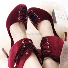 Women Shoes Lace Up Summer Style Thin Heels Boots Wine Red Stiletto Wedding Dress Shoes High Heels Valentine Shoes Woman Pumps(China (Mainland))