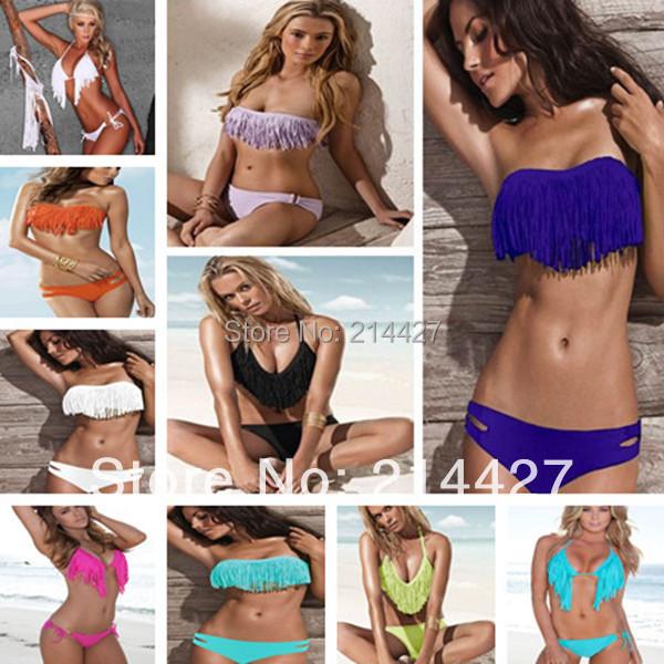 Brand New Sexy Swimwear Women Padded Boho Fringe Bandeau Top Bikini Set High Fashion Bathing Suit Lady Women Swimsuit