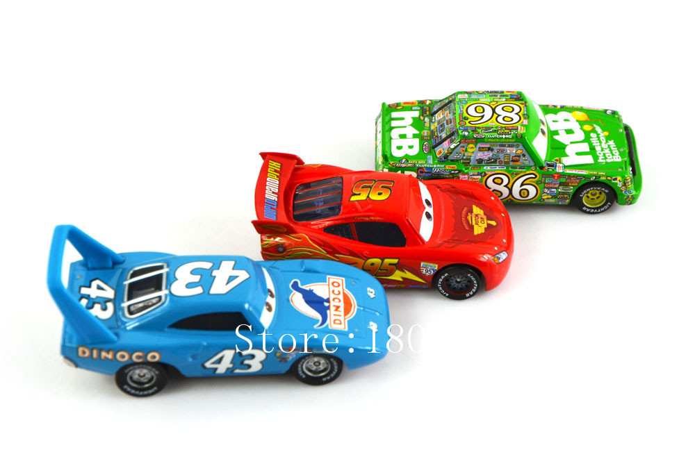 3pcs/set 100% PIXAR CARS 2 -Original Mcqueenes + Chick Hicks + King Loose Rare Diecast 1:55 kids toys alloy metal car model(China (Mainland))