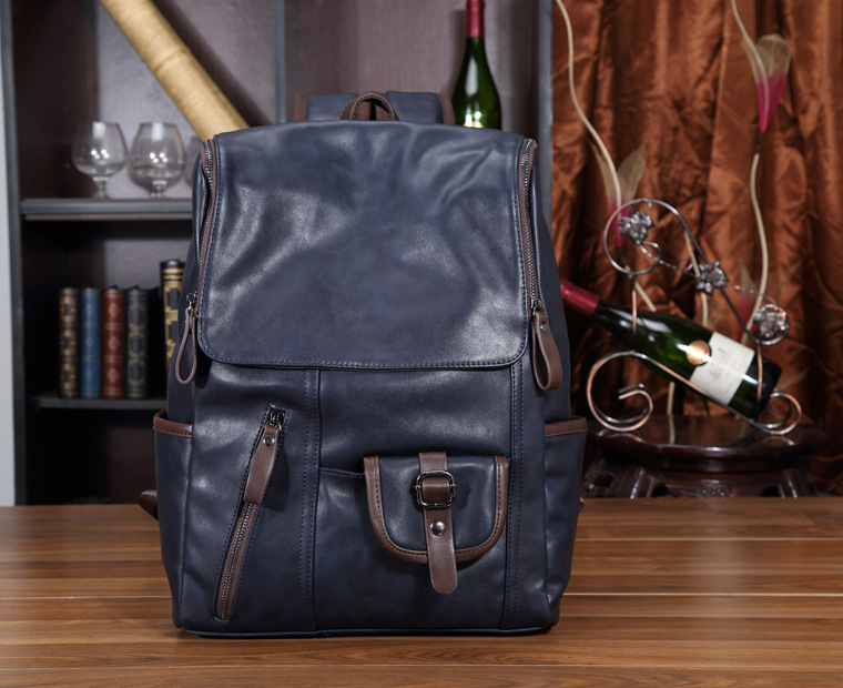 High Quality fashion British style PU Leather blue knapsack Men Backpack for College Preppy Style School Backpacks free shipping