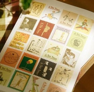 Korea Little Prince 4 Sheets Post Stamps Cute Scrapbooking Stickers Decorative Sticker Diary DIY Decors Album Decals(China (Mainland))