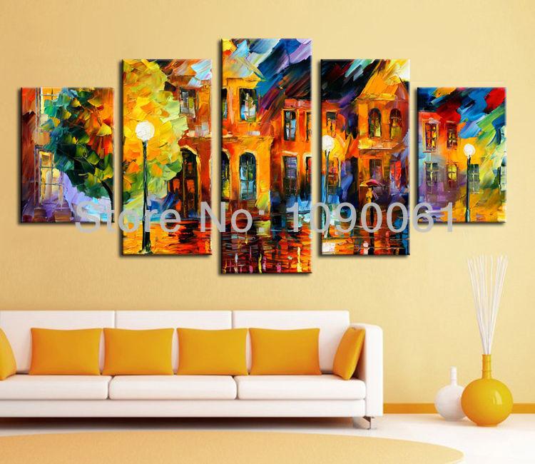Contemporary 7 Piece Wall Décor Set : Night street handmade piece canvas art sets wall