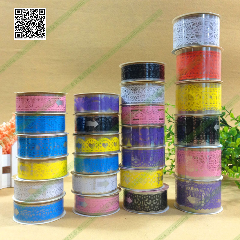 5 X Hot Lace Roll DIY Scrapbooking Paper Decorative Sticky Paper Masking Tape Self Adhesive 12 Colors Free shipping(China (Mainland))