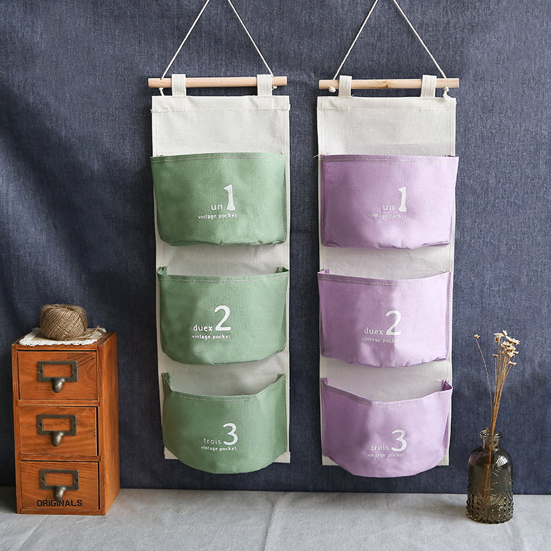 new ZAKKA cotton cloth hang bag debris pouch decorated linen storage bag sundry wall behind door key storage organizer bags(China (Mainland))