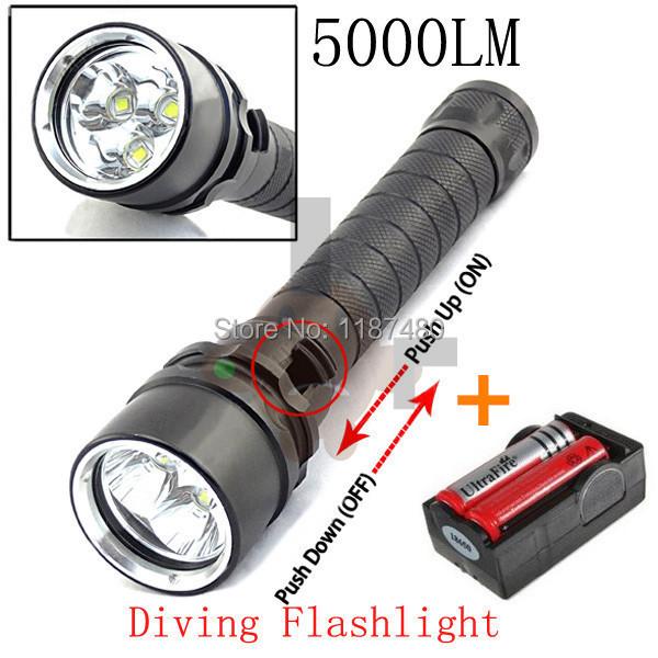 new underwater diving flashlight torch 3 x cree xm l2 led light lamp waterproof 5000 lumens. Black Bedroom Furniture Sets. Home Design Ideas