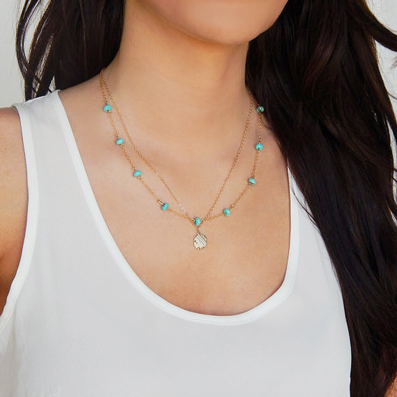 Bohemian Imitation turquoise necklace gold silver plated choker necklace vintage collier body chain jewelry bijoux femme XL394(China (Mainland))