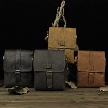 Vintage Designer Male Men's Crazy Horse Leather Top Grain Cow Leather Cowhide Shoulder Messenger Tablet PC Computer Bag Case(China (Mainland))