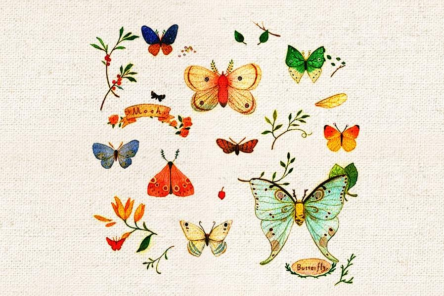 Butterfly Hand Dyed Patchwork Fabric DIY Painted Quilting Fabric DIY Sewing Material Textile Home Decor Cotton Canvas 20*30CM(China (Mainland))