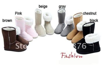 Free shipping Winter Thicken Short Plush Snow Boots Shoes For Women Black Coffee Gray Beige Brown Pink color 405