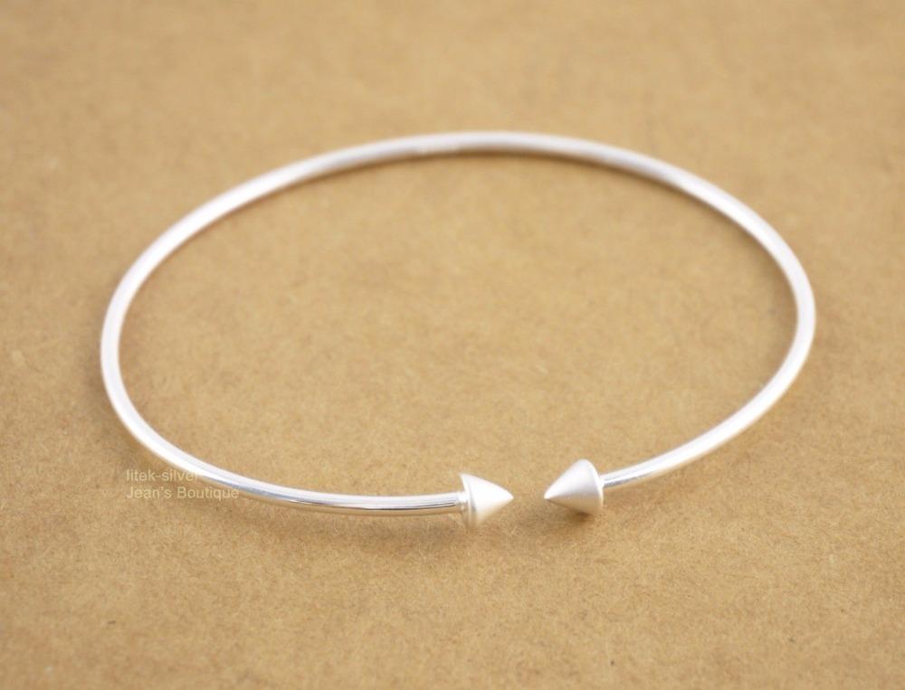 Wholesale 5pcs/lot - 925 Solid Sterling Silver Plain Double Love Arrow Cuff Bracelet for Women A2767(China (Mainland))