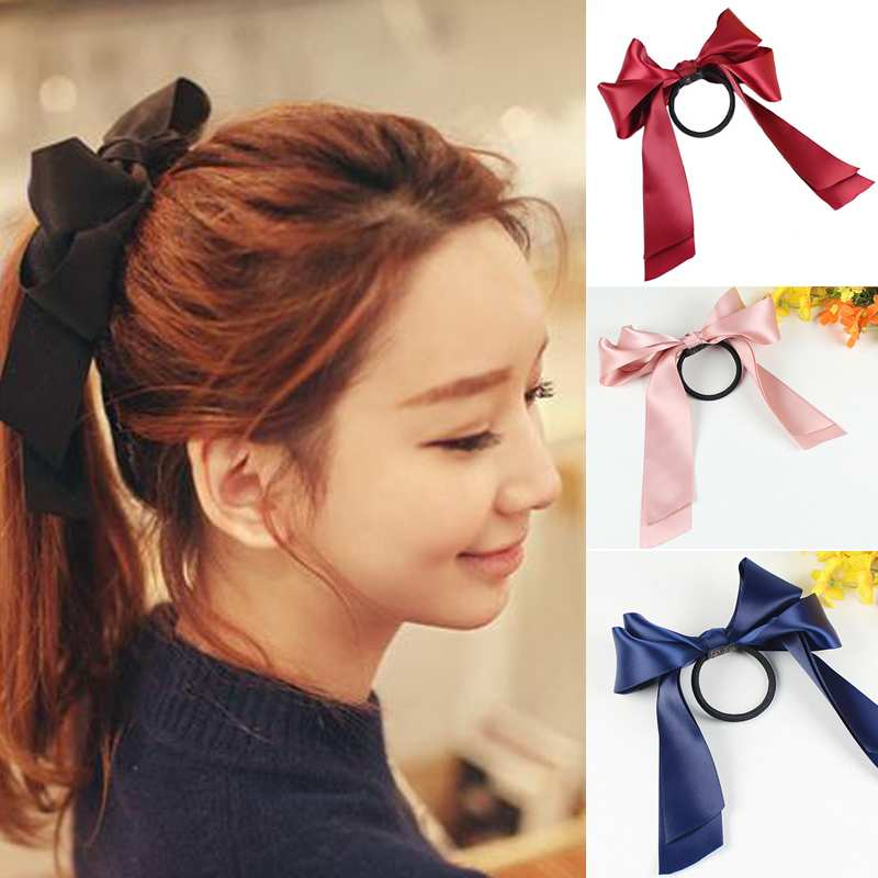 Womens Sweet Elastic Ribbon Bow Band Hair Rope Satin Scrunchie Ponytail Holder(China (Mainland))