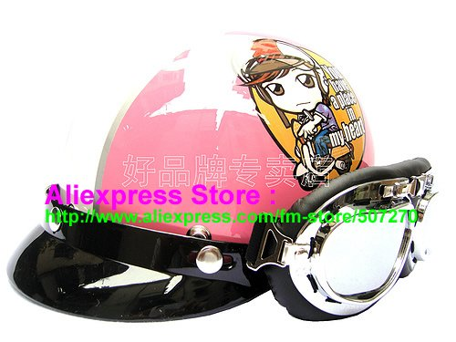 "P.08 Sweet ABS Half Bol Vespa Cycling Half Face Motorcycle "" Motor Girl "" Pink sports Helmet & Goggles Adults M , L , XL(China (Mainland))"