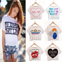 Top Quality Summer Style Women Crop Tops Fashion 2015 Cap Sleeve Tank Top Plus size Letter Printing Fresh Top(China (Mainland))
