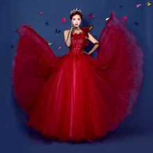 red lace flowers bowknot ball gown Medieval Renaissance Gown princess Victorian/Marie/victorian Belle Ball gown