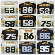 Wholesale Price Mike Webster Jack Lambert Lynn Swann GREG LLOYD Hines Ward Joe Greene Men's Throwback Jersey Size 48-56(China (Mainland))