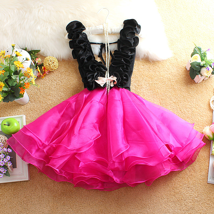 new 2016 ruched organza patchwork teenagers girls dress fashion v neck collar girls princess dress for 14~20age girl party dress(China (Mainland))