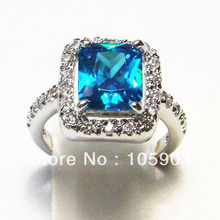 jewelry RING with SWISS BLUE CZ stone;fashion opal rings 925 stamped,SWISS BLUE