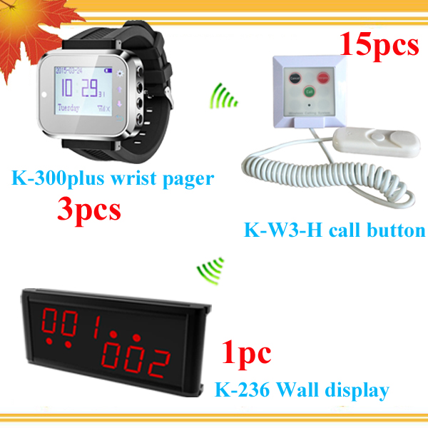 Long range wireless paging system for clinic;hospital With Center Display 3 smrat watches for 3 nurse 15 nurse call buzzers(China (Mainland))