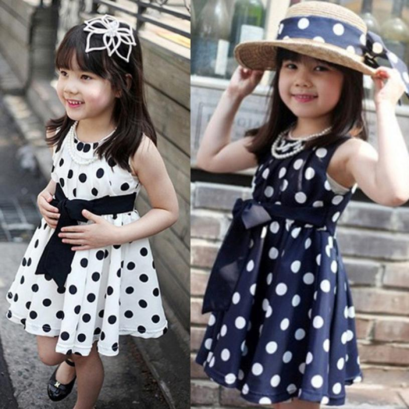 summer baby girl dresses Chiffon Flower Children girls Clothing Polka Dot wave point Sundress Dress kids clothes dress 2 colours(China (Mainland))