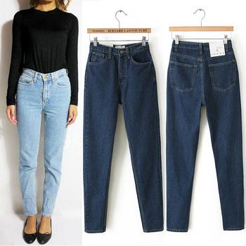 Старинные высокой талией джинсы женщин джинсовые брюки новый тонкий бойфренд брюки ...