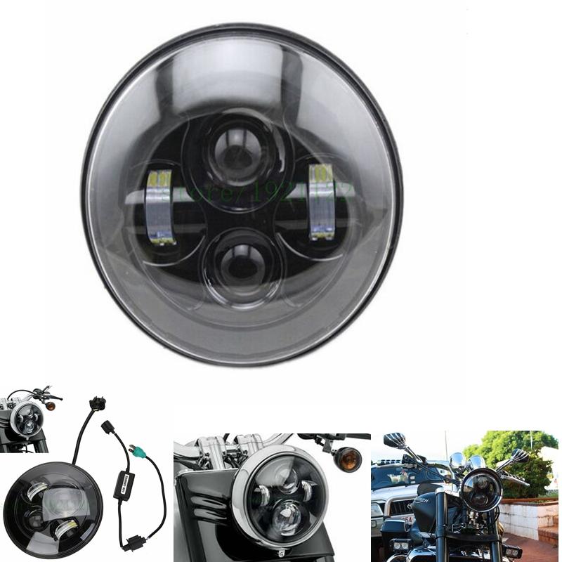 1 PCS Black 40w Headlight Motorcycle led headlamp 7'' Motorcycle Black Projector Daymaker LED Light Bulb Headlight for Harley(China (Mainland))