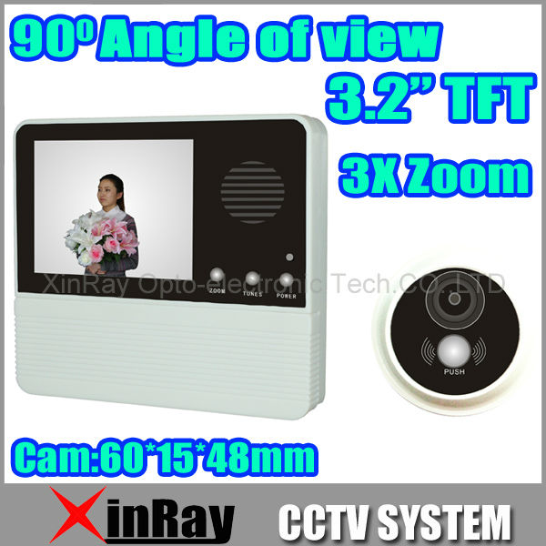 Free Shipping 3.2 TFT LCD Display Digital Door Peephole Viewer 3x Zoom lens with 90 degree viewing Angle Doorbell 601D-2B<br><br>Aliexpress