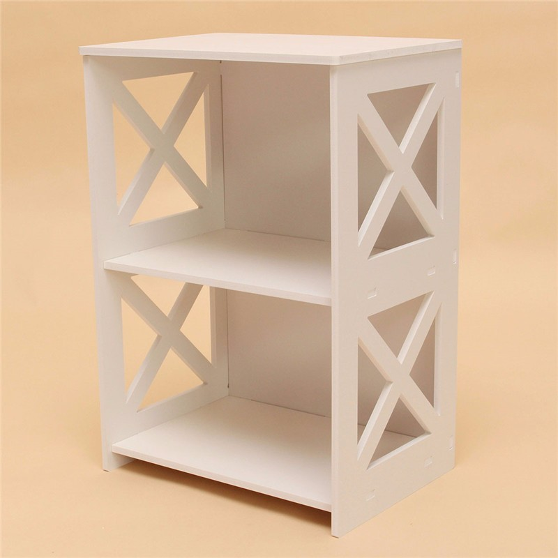 40x27x60 white shelf 3 layers bookshelf small shoe rack wpc wood plastic composite children bookshelf