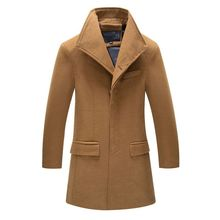 2016 New Winter Trench Coat Men High Quality Single Breasted Mid-length fashion Turn-down Collar Slim Men Trench Coat  5090401A(China (Mainland))