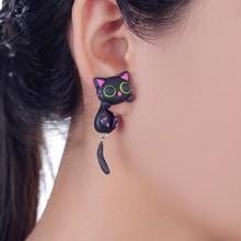 Buy W-AOE New Design Handmade Purple Ear Cute Cat Stud Earring Fashion Jewelry Polymer Clay Cartoon 3D Animal Earrings Women for $2.88 in AliExpress store