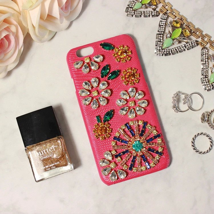 "Italy DG Crystal Diamond Lizards Genuine Leather Case For Apple iPhone 6 6s 4.7"" Real Leather Rhinestone Cover,Free Shipping(China (Mainland))"