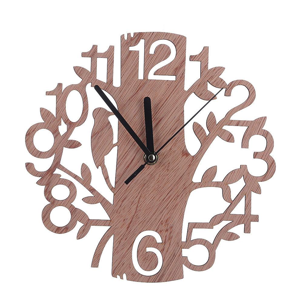 2017 Wooden Digital Wall Clock Home Living Room Bedroom Birds Tree Decoration Clocks Hot Sale(China (Mainland))