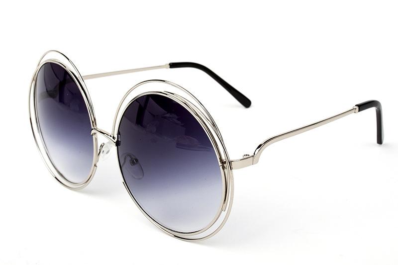 New big circle round frame sunglasses size bicyclic female face generic female fashion personality sunglasses Oculos