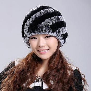 2015 Newest Women's Fashion Real Knitted Rex Rabbit Fur Hats Lady Winter Warm Charm Beanies Caps Female Headgear VK0318